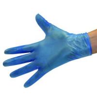 כפפות ויניל 100יח' בקופסא בצבע כחול עם אבקה וללא אבקה