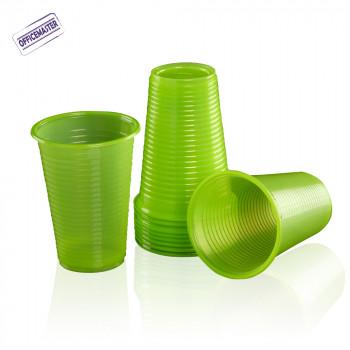 כוס פלסטיק איכותית לשתייה קרה 100יח בצבעים