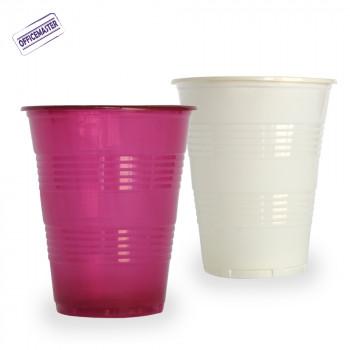 כוס פלסטיק  לשתייה קרה 100יח' בצבעים בורדו|קרם
