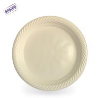 צלחות חד פעמיות קשיחות אריזה 100יח' לבן/קרם